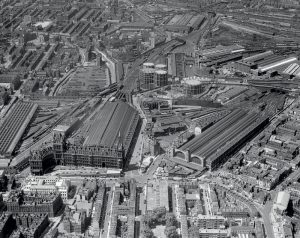 Aerial view King's Cross St Pancras, c.1937