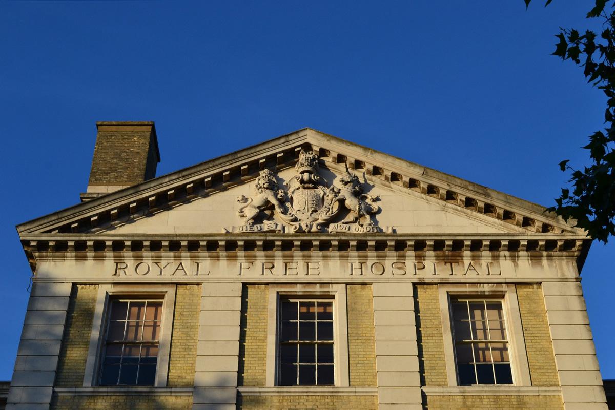 Facade of the former Royal Free Hospital, Gray's Inn Road